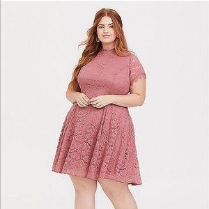 Pink Lace High Neck Trapeze Dress